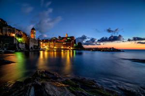Обои Италия Дома Море Небо Вернацца Чинкве-Терре парк Ночь Города фото