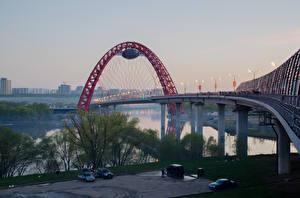 Картинки Мосты Москва Россия Реки Города