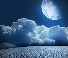 Фотографии Небо Луны Облака Природа