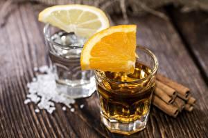 Картинки Апельсин Напитки Лимоны Водка Рюмка Еда