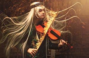 Картинки Скрипки Пламя Мужчины Волосы