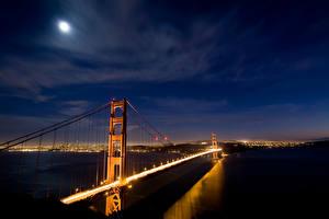 Фото Мосты Небо США Ночь Сан-Франциско Города