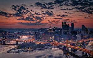 Фото Вечер Мосты Здания США Питтсбург Облачно Пенсильвания Города