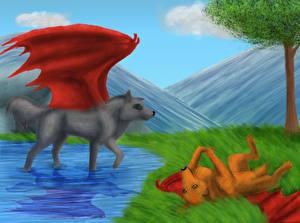 Обои Волшебные животные Двое Крылья Фантастика