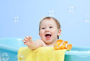 Фотография Младенца Ванная Улыбается Смех ребёнок