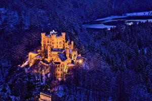 Картинки Германия Замок Лес Зима В ночи Уличные фонари Hohenschwangau Города