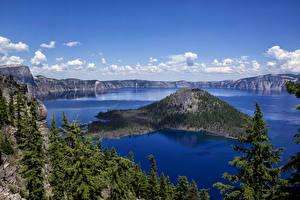 Фотография Канада Пейзаж Парки Озеро Горы Небо Ели Crater Lake National Park Природа