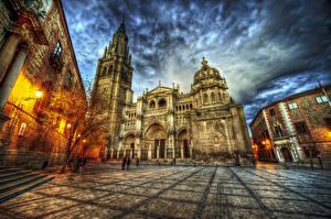 Фотография Испания Храмы Толедо HDR Улица Ночные Уличные фонари Catedral de Santa Maria