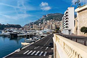 Картинки Монако Здания Причалы Корабль Монте-Карло город