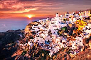 Картинки Здания Греция Фира Oia город