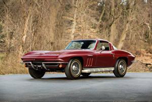 Фотографии Шевроле Старинные Бордовые Металлик 1965 Corvette Sting Ray L84 327-375 HP Fuel Injection (C2) Автомобили