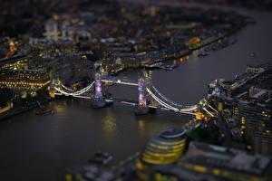 Фотография Мосты Реки Сверху Ночью Лондон Tiltshift город