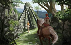 Фото Воители Индейца Пирамида Двое Фэнтези