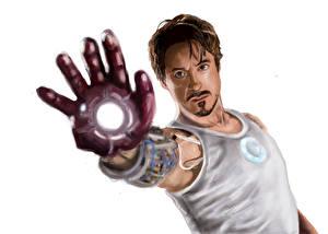Фотографии Железный человек Мужчины Robert Downey Jr Рисованные Майки кино
