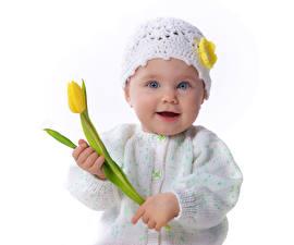 Картинка Тюльпаны Грудной ребёнок Девочки Шапки Лицо Ребёнок
