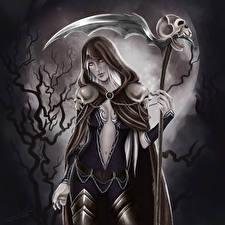 Картинки Готика Фэнтези Образ смерти Коса (оружие) Ночь Луна Капюшоне Фантастика Девушки