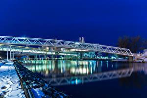 Фотография Канада Река Мост Зима В ночи Ontario Города