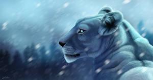 Обои Большие кошки Львы Рисованные Взгляд Животные фото