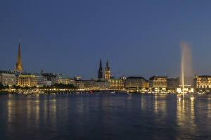 Фотография Побережье Дома Вечер Гамбург Германия