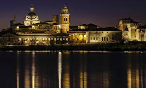 Фото Италия Дома Реки Ночь Mantua Lombardy Города