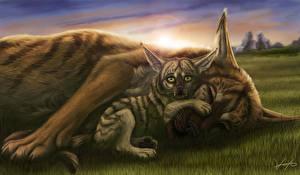 Фотография Волки Рисованные Детеныши Две Животные