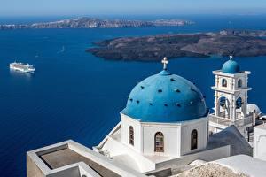 Картинка Греция Дома Море Тира Церковь Imerovigli, Aegean Church of Ai-Stratis город