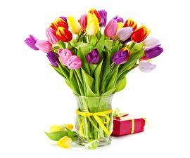 Картинки Букеты Тюльпаны Пасха Вазе Подарков Яйца Белый фон Цветы