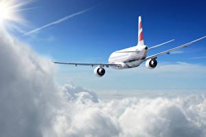 Обои Самолеты Пассажирские Самолеты Небо Облака Сзади Авиация фото