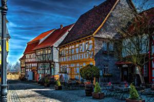 Картинки Германия Здания Улице Кусты Скамья HDRI Obernhain Города