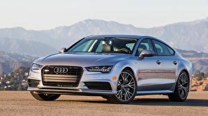 Картинка Audi Серебристая 2015 A7 Sportback TFSI quattro S-Line US-spec Машины