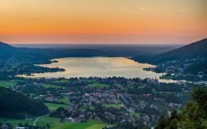 Фото Германия Озеро Бавария Сверху Tegernsee, Tegernsee lake Природа