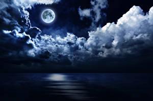 Фотография Небо Вода Ночью Луной Облако Природа