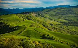 Картинки Италия Пейзаж Поля Тоскана Природа