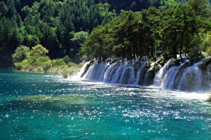 Обои Китай Парки Водопады Реки Цзючжайгоу парк Природа фото
