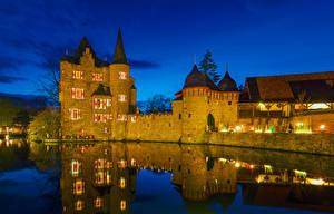 Фотография Германия Замки Реки Ночь Уличные фонари Wasserburg Satzvey Города