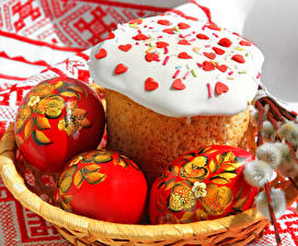 Обои Праздники Пасха Кулич Выпечка Яйца Дизайн Еда фото