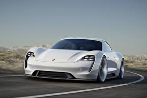 Фотография Порше Спереди Едущий Белый 2015 Mission E Concept Автомобили