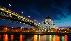 Фото Мосты Реки Россия Собор Ночные Cathedral of Christ the Saviour Города