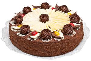 Картинки Сладости Торты Шоколад Белый фон Пища