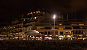 Фотография Испания Здания Канарские острова Ночь Уличные фонари Las Palmas Gran Canaria город