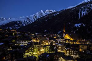 Фотографии Германия Здания Гора Ночью Уличные фонари Muenster город
