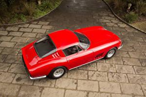 Картинка Ferrari Ретро Красный Металлик Сверху 1965-66 Ferrari 275 GTB 6C Acciaio дизайн Pininfarina Авто