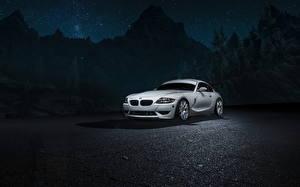 Фотографии БМВ В ночи Белый Z4M автомобиль