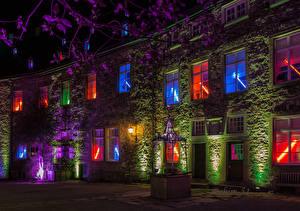 Фотографии Германия Замок Ночные Уличные фонари Drachenburg Города