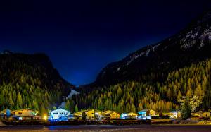 Картинки Австрия Горы Леса Здания Ночью Huben Tyrol Природа