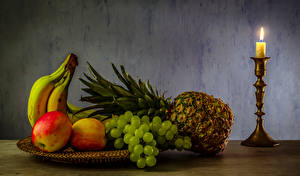 Картинки Фрукты Свечи Ананасы Бананы Яблоки Виноград