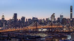 Фото Штаты Дома Мосты Манхэттен Нью-Йорк Уличные фонари Города