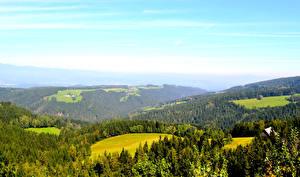 Картинки Пейзаж Австрия Леса Луга Небо Природа