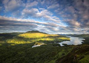 Картинки Шотландия Пейзаж Озеро Небо Облако Loch Katrine Природа
