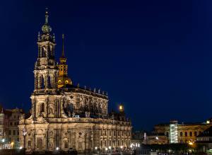 Фотография Дрезден Германия Храмы В ночи Уличные фонари Kath Hofkirche Города